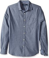 Nautica Men's Long Sleeve Slim Fit Printed Chambray Button Down Shirt