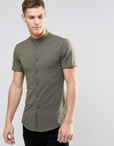 Asos Skinny Shirt In Khaki Jersey With Grandad Collar And Short Sleeves