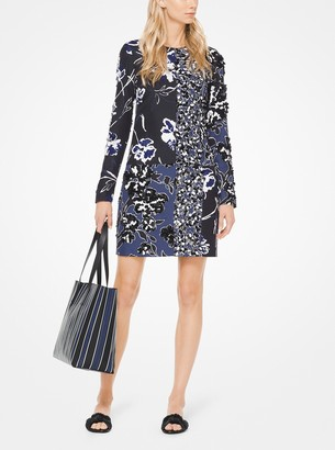 Michael Kors Collection Embroidered Mixed Floral Douppioni Shift Dress