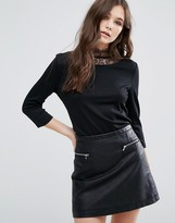 Vila Long Sleeve Top With Lace Detail