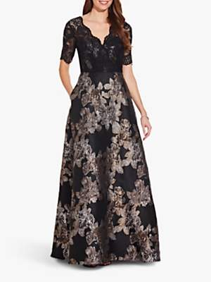 Adrianna Papell Metallic Gown, Black/Copper