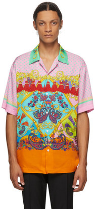 Versace Jeans Couture Pink Paisley Fantasy Short Sleeve Shirt
