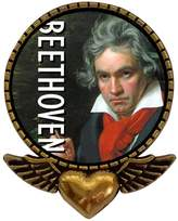 GiftJewelryShop Ancient Style Gold-plated Music Beethoven Heart With Angel Wings Pins Brooch