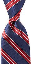 Roundtree & Yorke Trademark Repeat Stripe Traditional Silk Tie