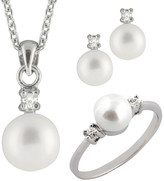 Splendid Pearls Silver 6.5-7.5Mm Freshwater Pearl & Cz Ring, Earrings, & Necklace Set