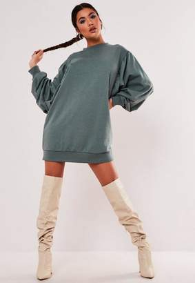 Missguided Teal Oversized Puff Sleeve Sweater Dress