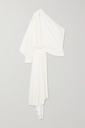 Oscar de la Renta One-sleeve Draped Jersey Top - Ivory
