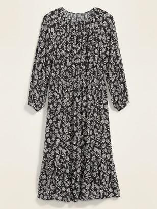 Old Navy Waist-Defined Floral-Print Plus-Size Midi Dress