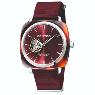 Briston Watches Briston Clubmaster Iconic Open Automatic Tortoise Shell, Sunray Dark Red Dial With Burgundy Nato Strap