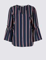 Marks and Spencer Striped V-Neck 3/4 Sleeve Blouse