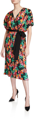 Diane von Furstenberg Autumn Pleated Floral Short-Sleeve Wrap Dress