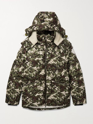 Moncler Faux Shearling-Trimmed Quilted Camouflage-Print Shell Hooded Down Jacket - Men - Green