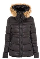 Quiz Black Padded Faux Fur Hood Jacket
