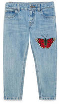 Gucci Children's denim pant with butterfly