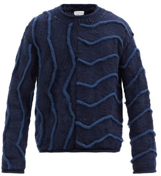 Post-Imperial Piping-knit Wool Sweater - Navy