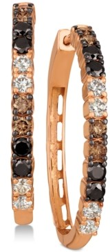 LeVian Le Vian Chocolate Layer Cake Blackberry Diamonds, Chocolate Diamonds & Nude Diamonds Hoop Earrings (1-5/8 ct. t.w.) in 14k Rose Gold