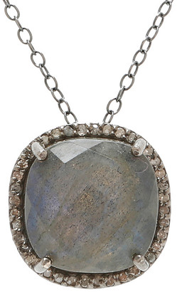 Adornia Fine Jewelry Silver 5.40 Ct. Tw. Diamond Labradorite Pendant Necklace