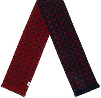 Gucci GG Wool Scarf In Midnight Blue & Red in Midnight Blue & Red | FWRD