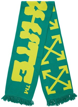 Off-White Disrupted Font Cotton Blend Scarf