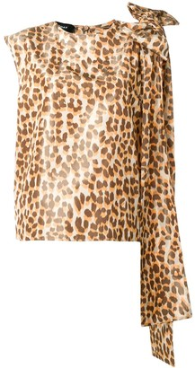 Rochas Bow-Detail Leopard-Print Top