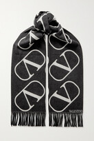 Thumbnail for your product : Valentino Garavani Fringed Intarsia Wool And Cashmere-blend Scarf - Black
