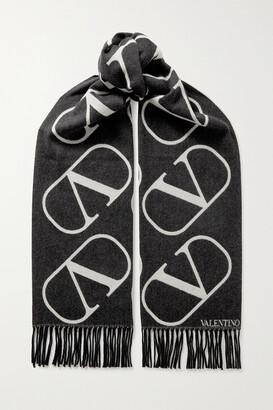 Valentino Garavani Fringed Intarsia Wool And Cashmere-blend Scarf - Black
