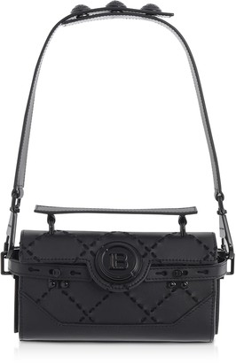Balmain Black Leather & Suede Bbuzz Baguette 19 Shoulder Bag