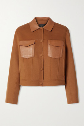 Theory Leather-trimmed Wool And Cashmere-blend Jacket - Camel