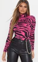 PrettyLittleThing Neon Pink Zebra Printed High Neck Top