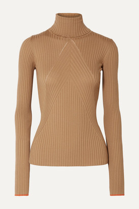 Victoria Beckham Paneled Ribbed Wool Turtleneck Sweater - Camel