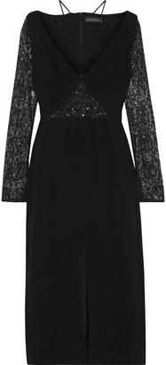 David Koma Sequin-embellished Mesh-paneled Crepe Midi Dress