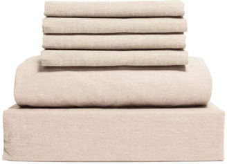 Lintex Bedding Chambray Cotton and Polyester Sheet, 6 Piece Set, Oatmeal, Full