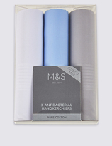 M&S Collection 3 Pack Pure Cotton Handkerchiefs with Sanitized Finish®