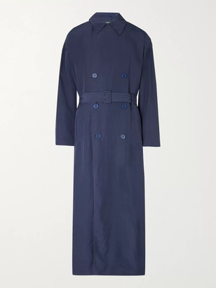 Balenciaga Oversized Belted Double-Breasted Lyocell Trench Coat - Men - Blue