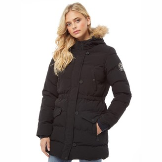 Brave Soul Womens Long Padded Bubble Jacket With Hood Black