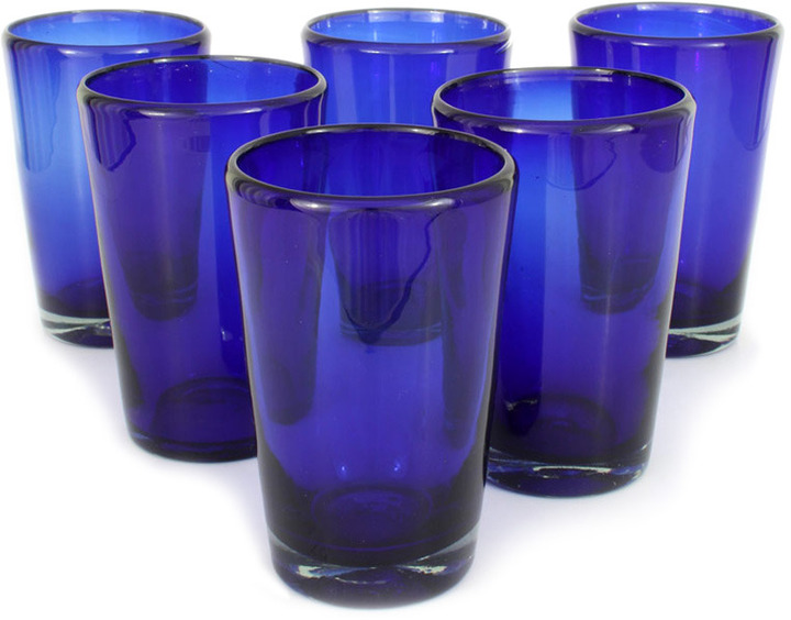 Novica Cobalt Angles Glasses[br](Set of 6)
