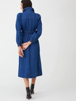 Whistles Belted Midi Shirt Dress - Denim