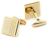 Roundtree & Yorke Square Gold Line Cuff Links