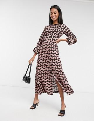 Closet London long sleeve midaxi dress in contrast heart print