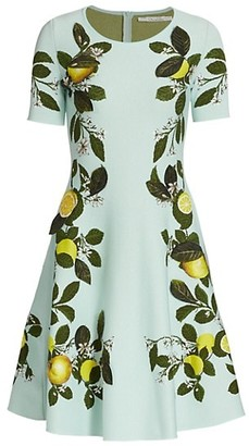 Oscar de la Renta Citrus Primavera Jacquard Fit-&-Flare Dress