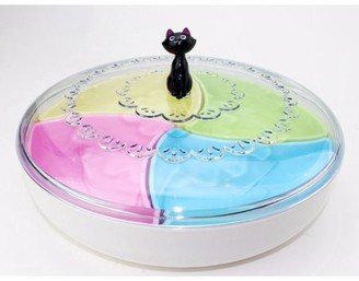 Smiling Juju Novelty Design Lucky Cat Candy Box Durable Plastic Bright Color Kitchen Organize LS02086