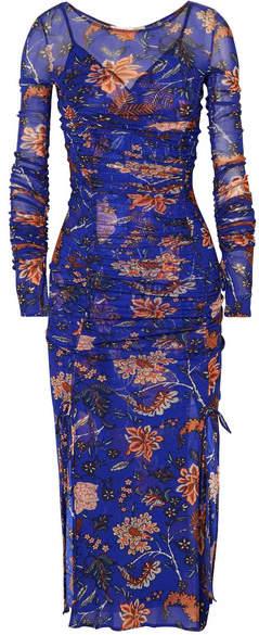 Diane von Furstenberg Canton Ruched Floral-print Mesh And Satin Dress - Indigo