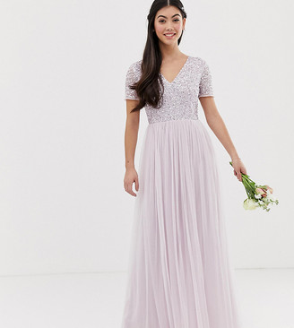 Maya Petite Bridesmaid v neck maxi tulle dress with tonal delicate sequin in soft lilac-Purple