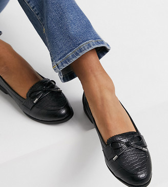 New Look Wide Fit loafers in black croc