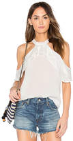 Band of Gypsies Ruffle Blouse in White. - size L (also in M,S,XS)