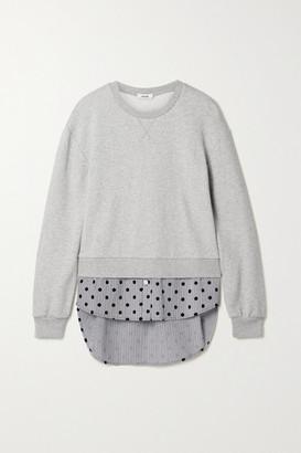 Jason Wu Layered Cotton-blend Jersey And Flocked Striped Cotton-poplin Top