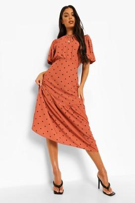 boohoo Polka Dot Puff Sleeve Midi Dress