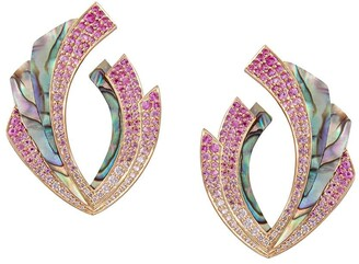 Ananya 18kt rose gold diamond sapphire Mogra Blossom earrings