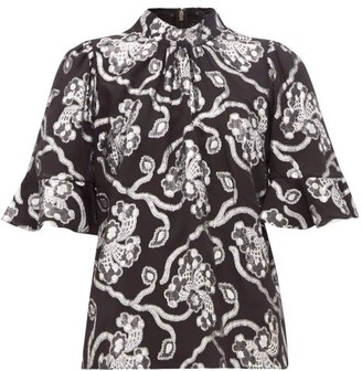Rebecca Taylor Trumpet Sleeve Floral Brocade Silk Blend Top - Womens - Black Silver