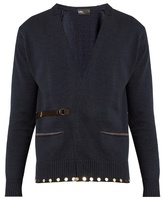 Kolor Embellished-hem Belted Cotton Cardigan
